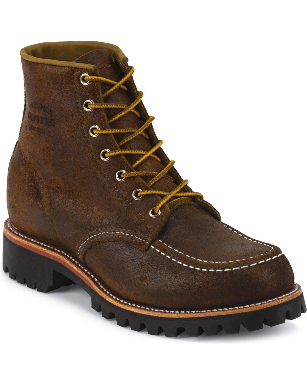 """Chippewa Men's 6"""" Lace-Up  Suede Field Boots, Dark Brown, hi-res"""