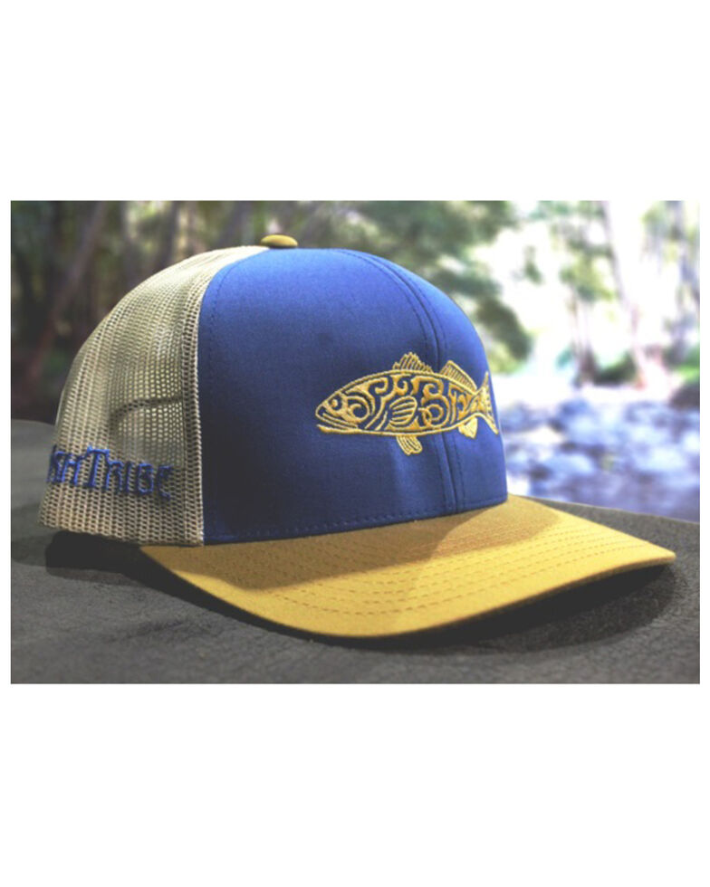 Oil Field Hats Men's Blue Redfish Tribe Mesh Ball Cap , Blue, hi-res
