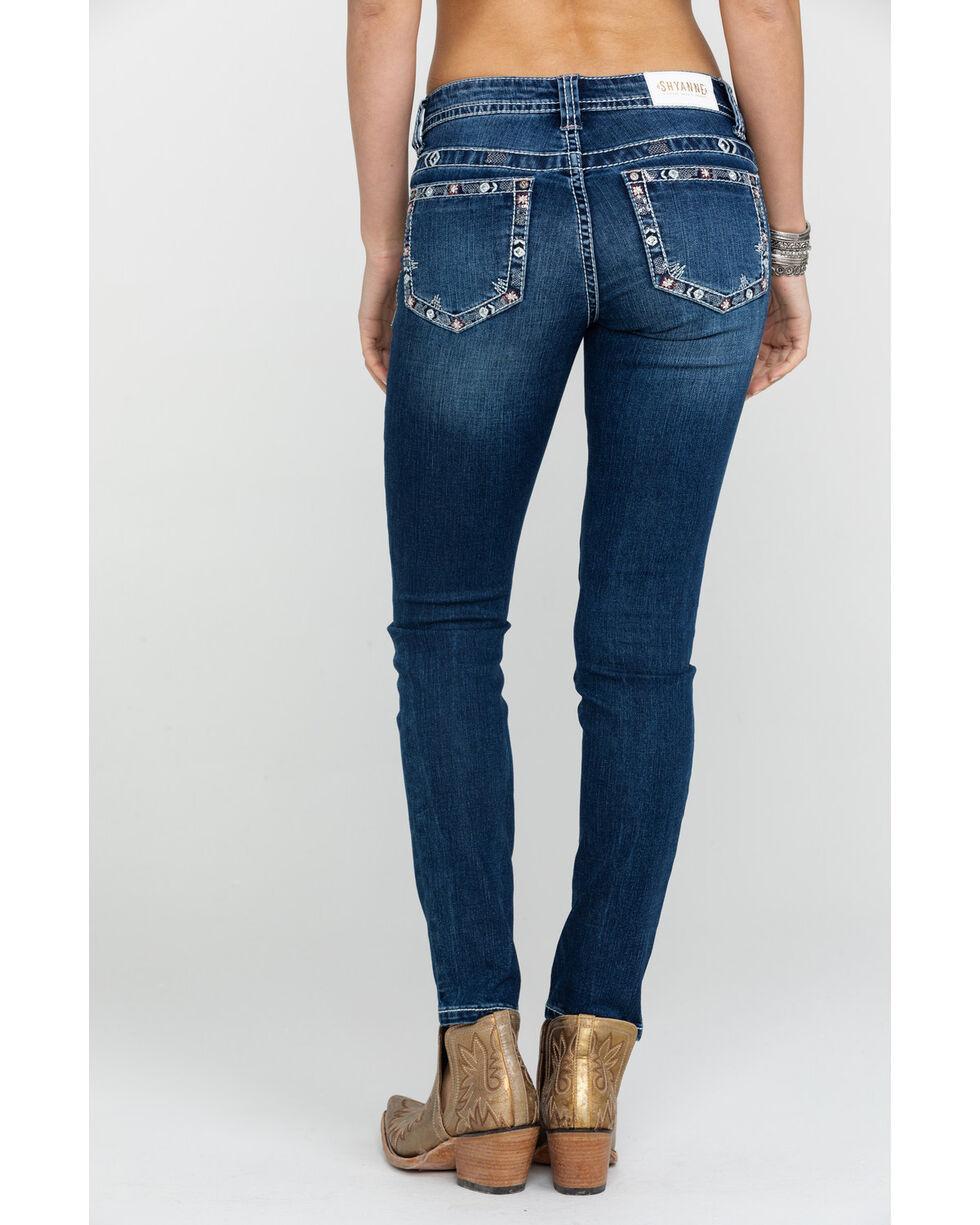 Shyanne Women's Floral Bling Light Skinny Jeans , Blue, hi-res
