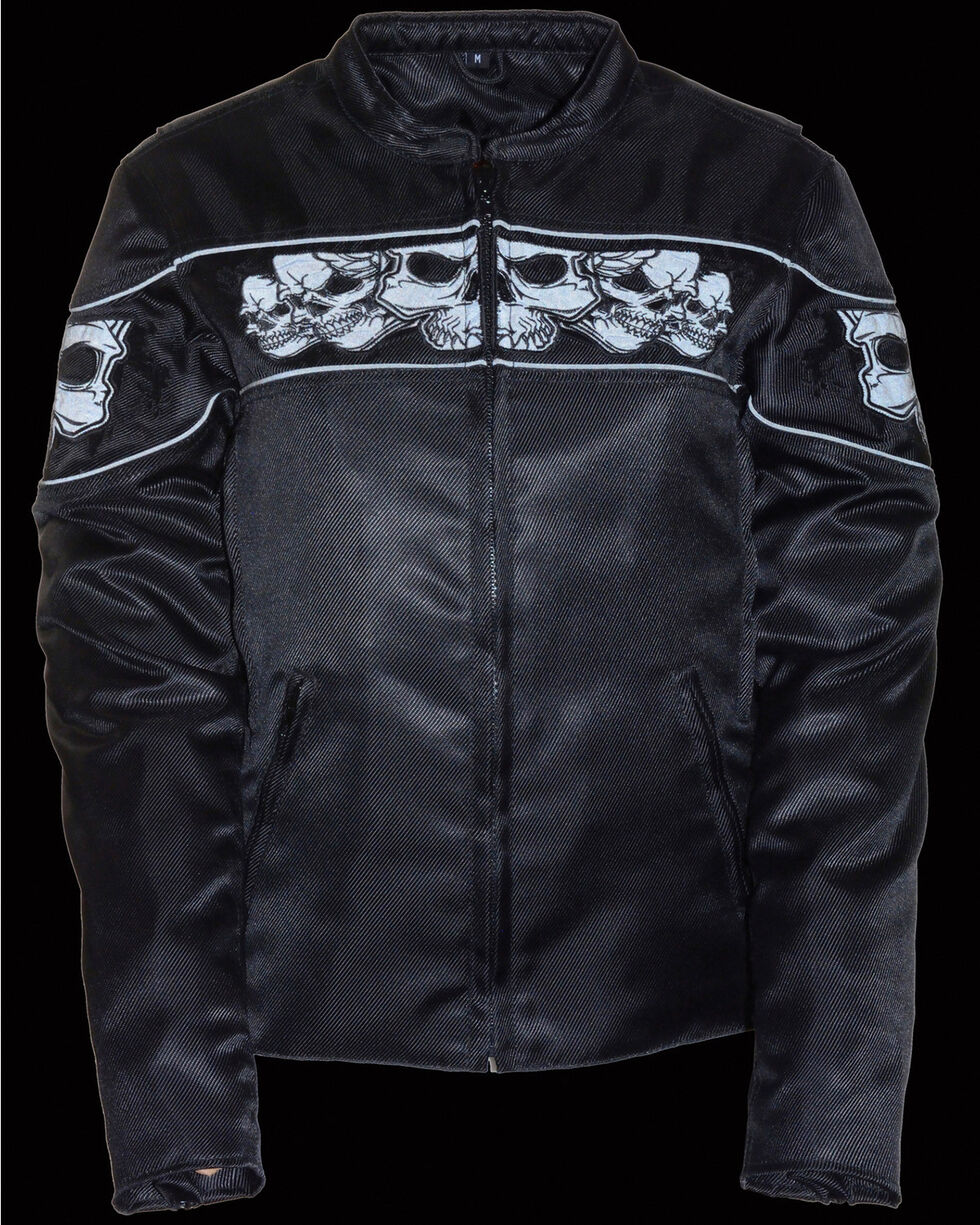 Milwaukee Leather Women's Reflective Skull Crossover Textile Scooter Jacket - 3X, Black, hi-res