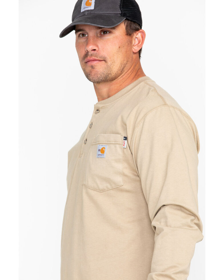 Carhartt Flame Resistant Henley Long Sleeve Work Shirt, Beige/khaki, hi-res