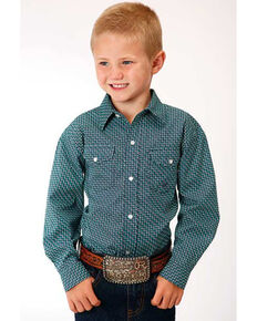 Amarillo Boys' Blue Ridge Geo Print Long Sleeve Western Shirt , Green, hi-res
