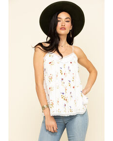 Miss Me Women's Ivory Floral Print Lace Cami, Ivory, hi-res
