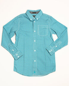 Cody James Boys' Diamond Field Print Long Sleeve Western Shirt , Turquoise, hi-res