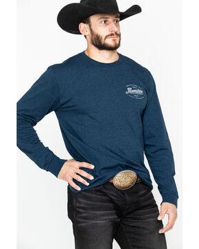 Moonshine Spirit Men's Solid Smoke Logo Graphic Long Sleeve Shirt , Navy, hi-res