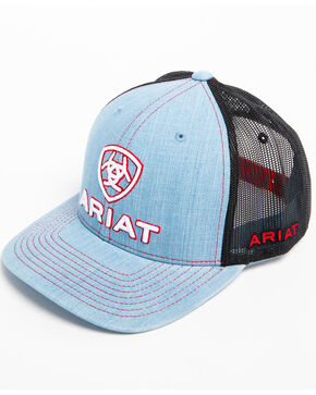 Ariat Men's Embroidered Logo Denim Trucker Cap, Light Blue, hi-res