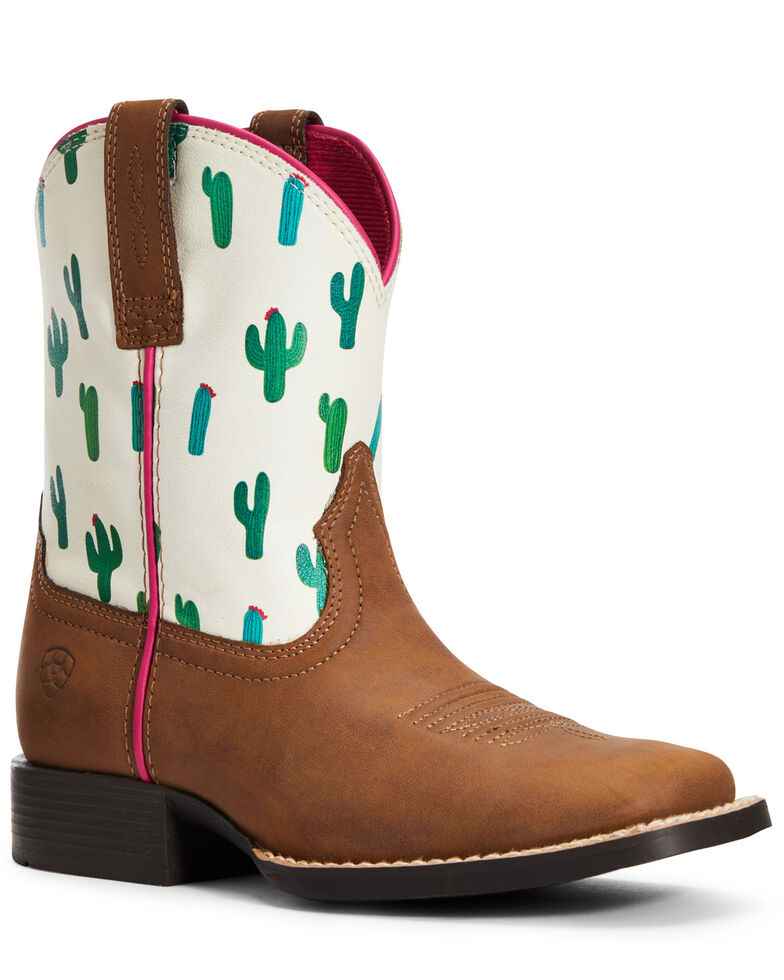 Ariat Girls' Dinero Cactus Print Western Boots - Square Toe, Brown, hi-res