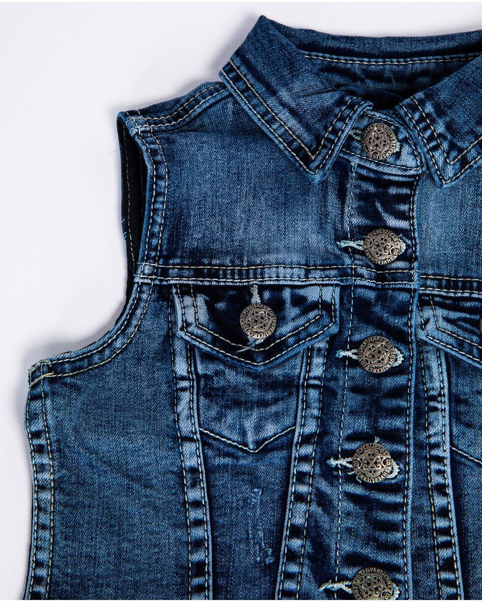 Silver Girls' Leah Medium Denim Vest , Indigo, hi-res