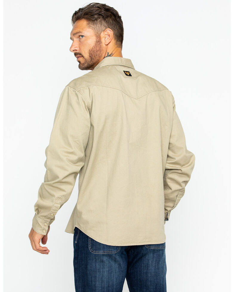 Hawx Men's Twill Snap Long Sleeve Western Work Shirt - Tall , Beige/khaki, hi-res