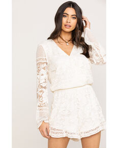 Show Me Your Mumu Women's Loretta Moonlight Rose Lace Romper, Cream, hi-res