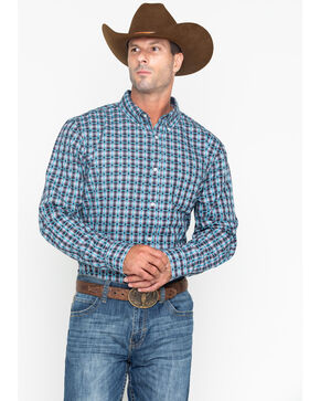 Cody Core Men's Small Plaid Buckshot Long Sleeve Western Shirt - Big & Tall , Grey, hi-res
