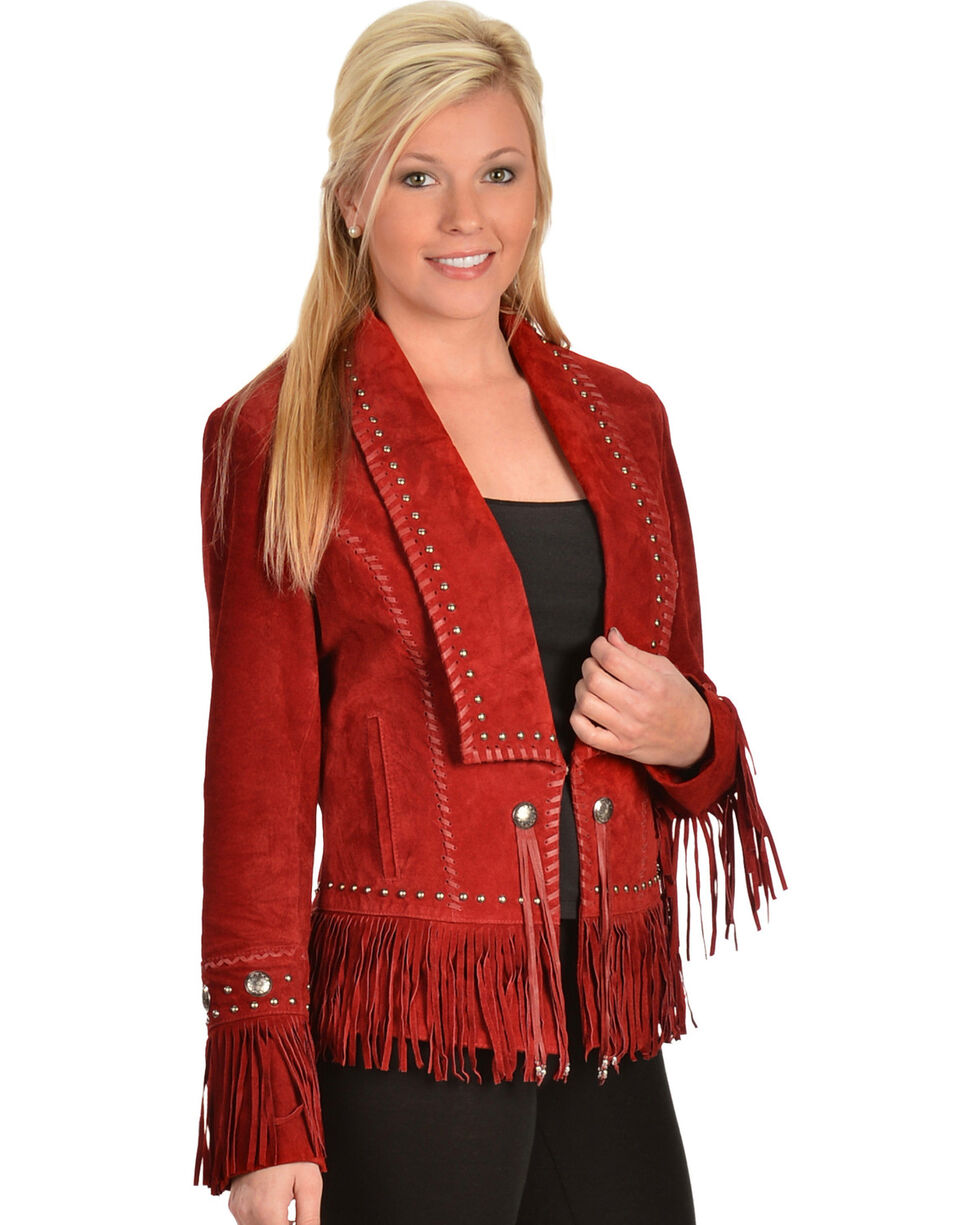 Scully Women's Classic Long Lapel Suede Jacket, Red, hi-res