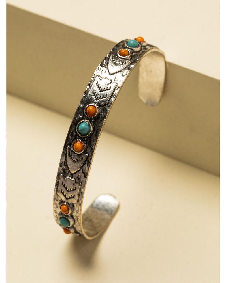 Shyanne Women's In The Oasis Stone Cuff Bracelet , Silver, hi-res