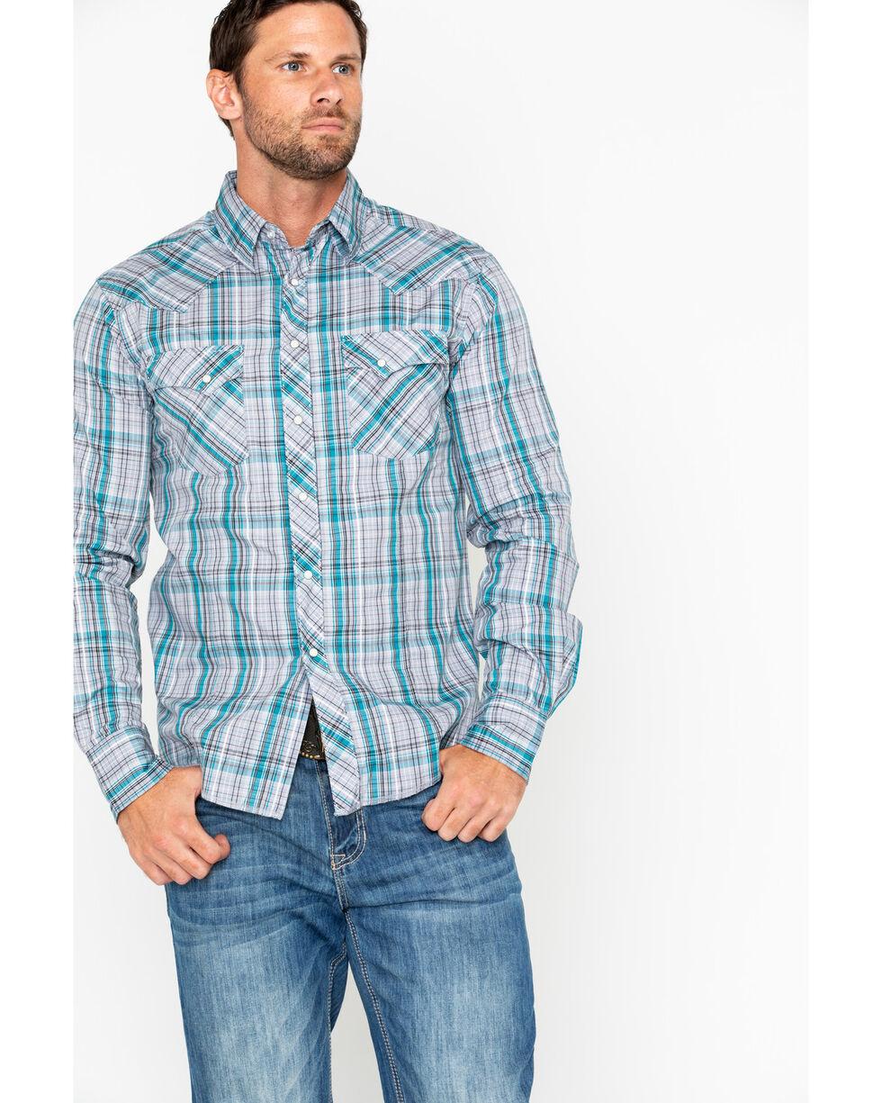 Wrangler Men's Lurex Grey Snap Long Sleeve Western Shirt, Grey, hi-res