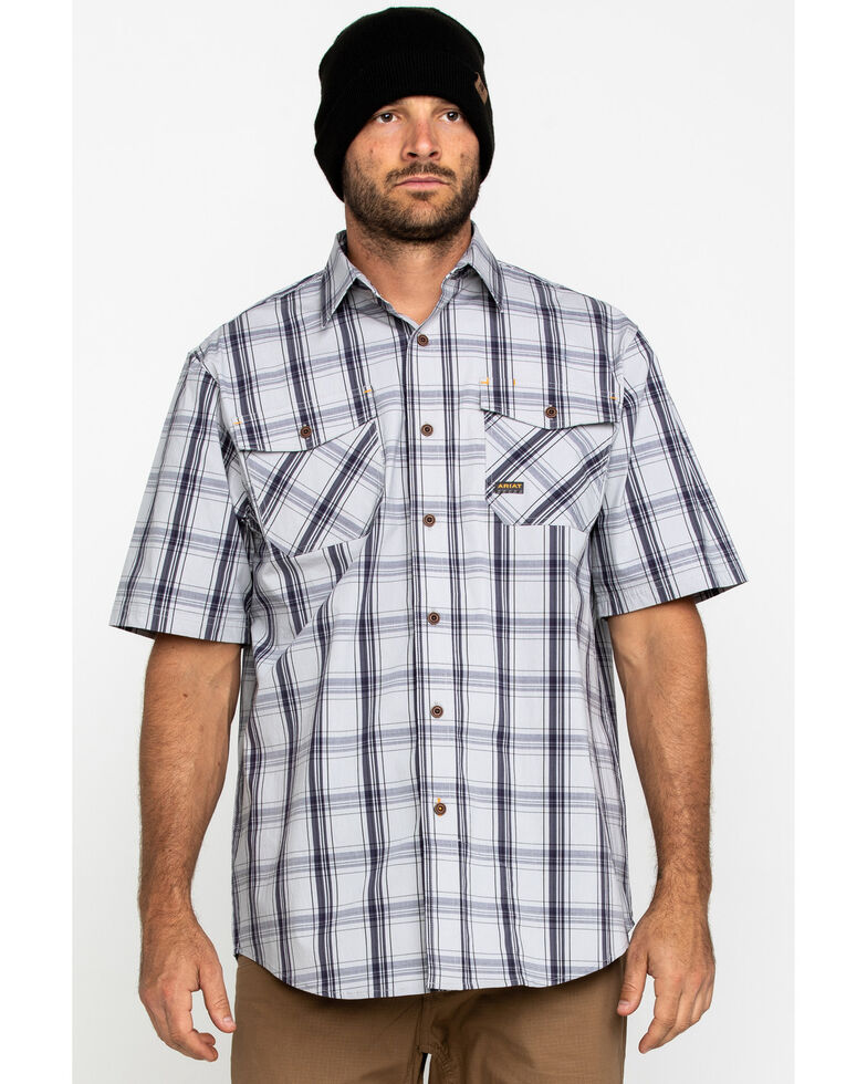Ariat Men's Grey Plaid Rebar Made Tough Short Sleeve Work Shirt, Dark Grey, hi-res