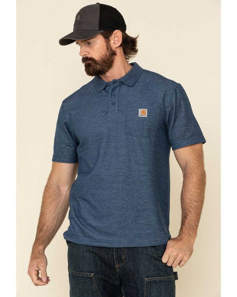 Carhartt Men's Contractors Pocket Short Sleeve Work Polo Shirt, Dark Blue, hi-res