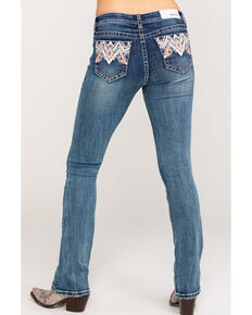 Grace in LA Women's Medium Mid-Rise Aztec Pocket  Bootcut Jeans, Blue, hi-res