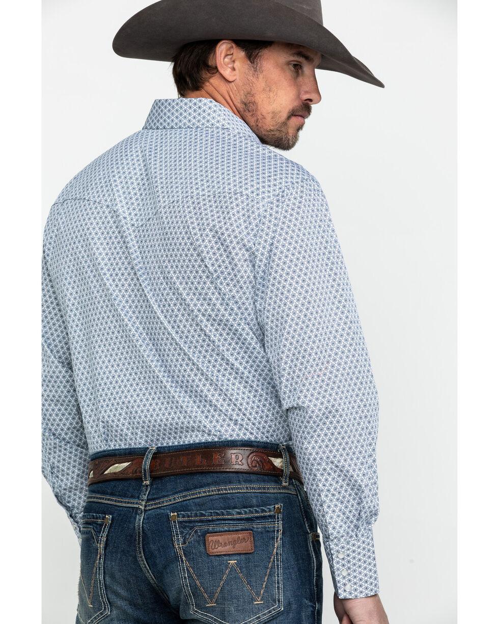 Ely Cattleman Men's Blue Print Long Sleeve Western Shirt - Tall , Blue, hi-res