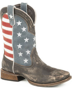 Roper Men's American Flag Cowboy Boots - Square Toe, Brown, hi-res