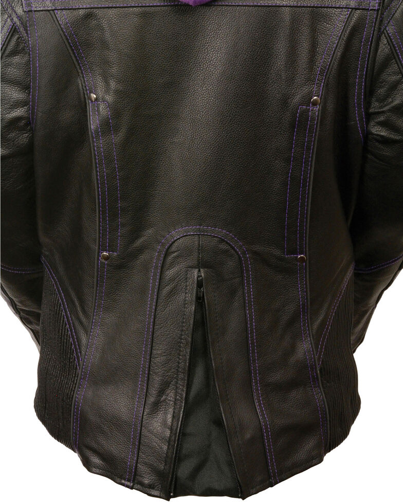 Milwaukee Leather Women's 3/4 Leather Jacket With Reflective Tribal Detail - 5X, Black/purple, hi-res