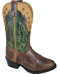 Smoky Mountain Boys' Reno Western Boot - Round Toe, Brown, hi-res