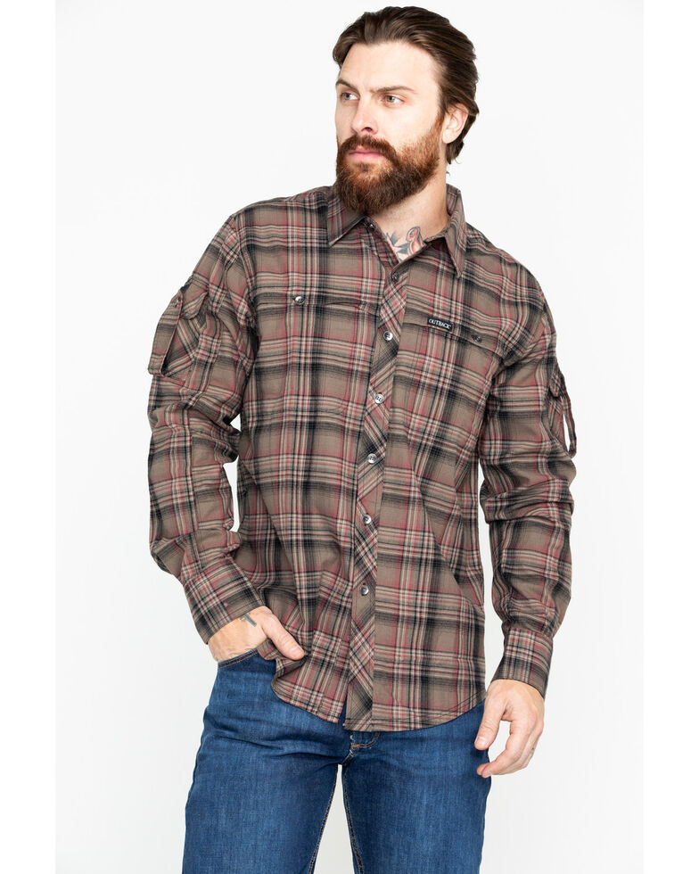 Outback Trading Co. Men's Plaid Laramie Perf. Long Sleeve Western Shirt , Olive, hi-res