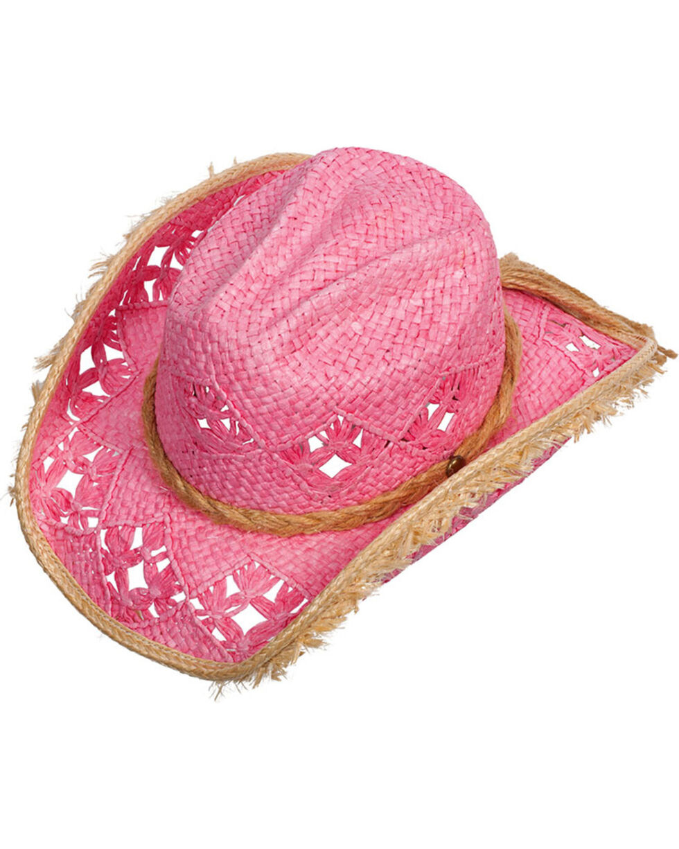 Western Express Women's Pink Memphis Straw Hat , Pink, hi-res