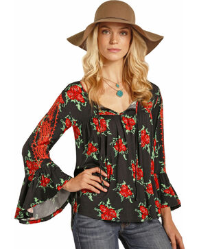 Rock & Roll Cowgirl Women's Rose Bell Sleeve Top, Black, hi-res