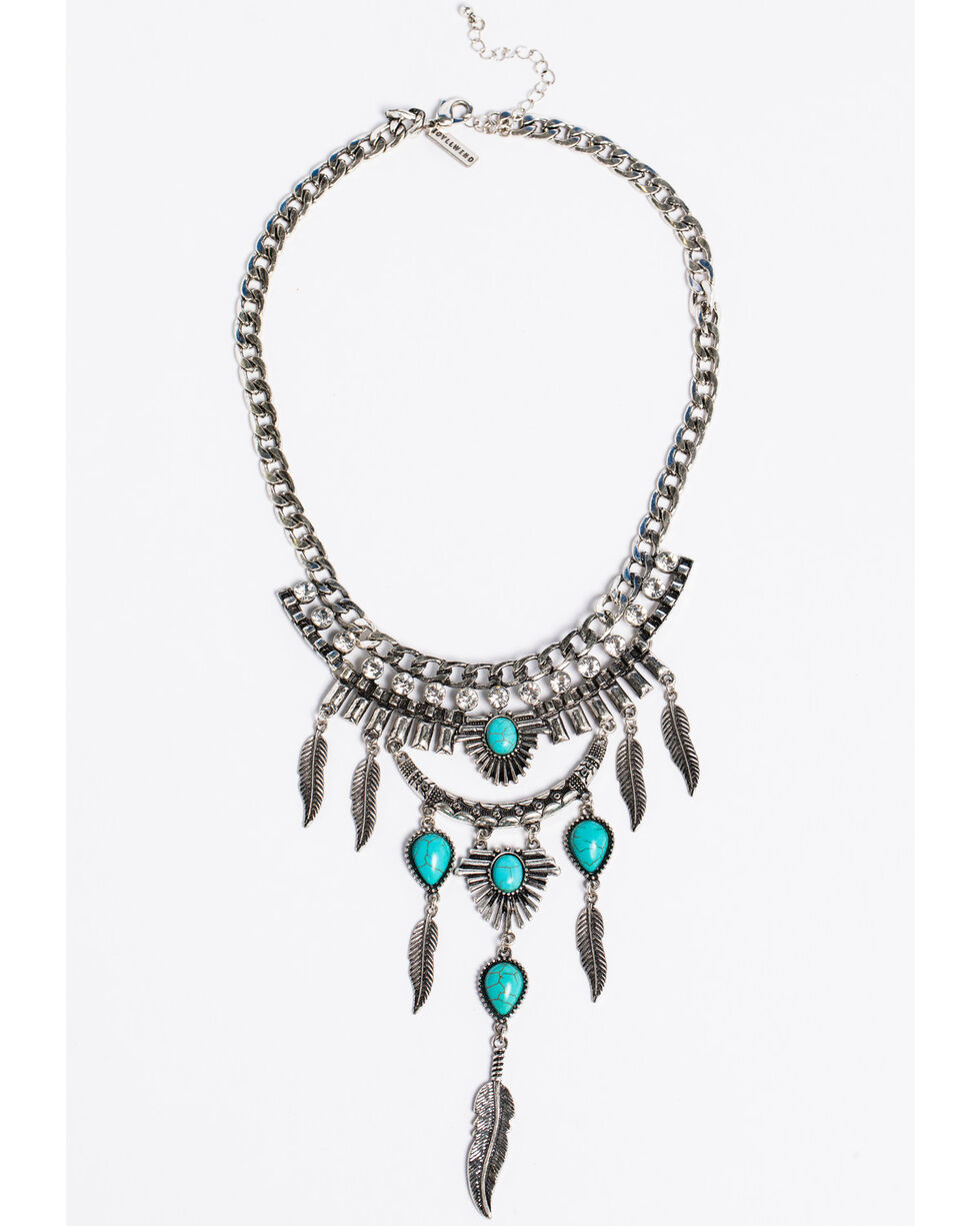 Idyllwind Women's Heartbreaker Feather Necklace , Silver, hi-res
