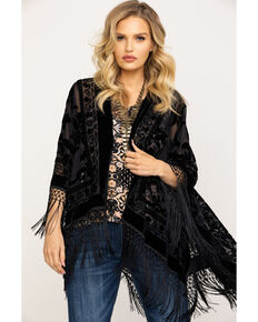 Idyllwind Women's It's A Wrap Black Fringe Poncho, Black, hi-res