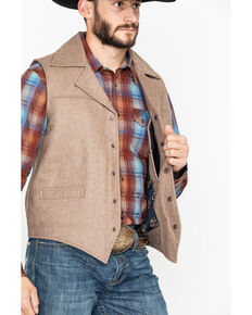 Cripple Creek Men's Wool Melton Snap Front Collared Vest , Oatmeal, hi-res