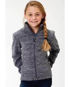 Roper Girls' Navy Micro Fleece Jacket, Blue, hi-res