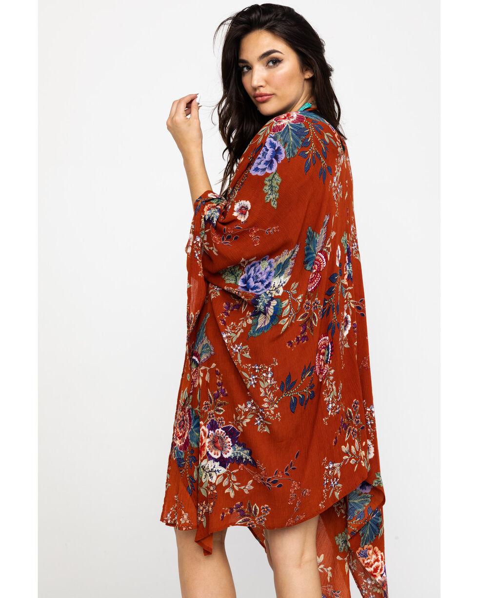 Patrons of Peace Women's Rust Floral Kimono, Rust Copper, hi-res