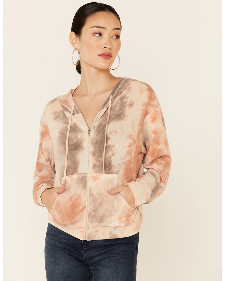 Lunachix Women's Blushed Tie-Dye Zip Hoodie, Blush, hi-res