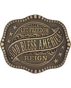 Montana Silversmiths Men's Brass God Bless America Belt Buckle , Silver, hi-res
