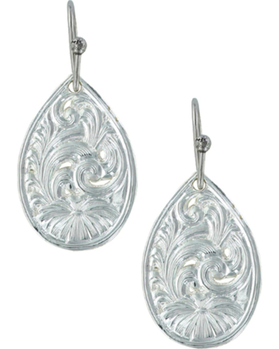Montana Silversmiths Women's Western Lace Flower Petal Earrings , Silver, hi-res