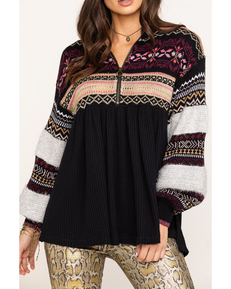 Free People Women's Cozy Cottage Sweater, Black, hi-res