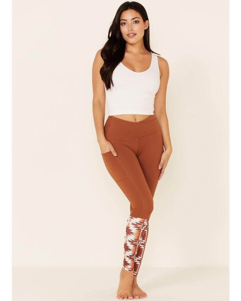 Ranch Dress'n Women's Bandera Aztec Print Leggings, Brown, hi-res