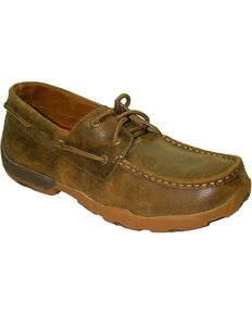 Twisted X Men's Lace Up Boat Shoes, Brown, hi-res