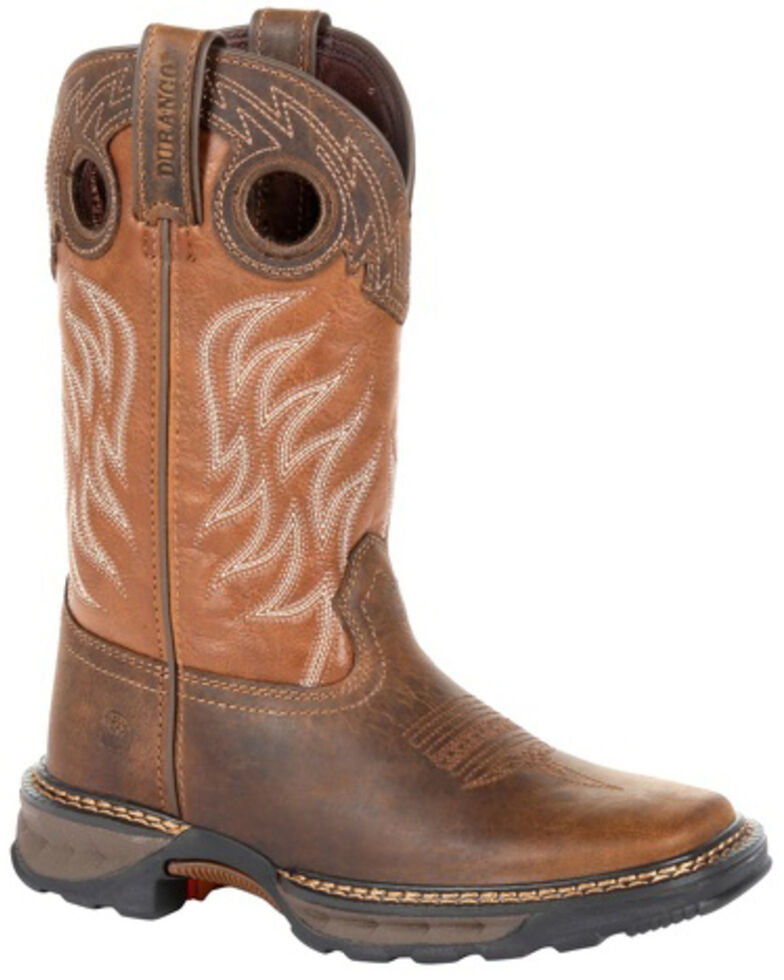 Durango Boys' Maverick XP Brown Western Work Boots - Square Toe, Brown, hi-res