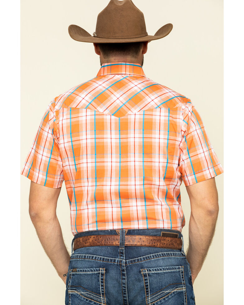 Ely Cattleman Men's Orange Dobby Plaid Short Sleeve Western Shirt , Orange, hi-res