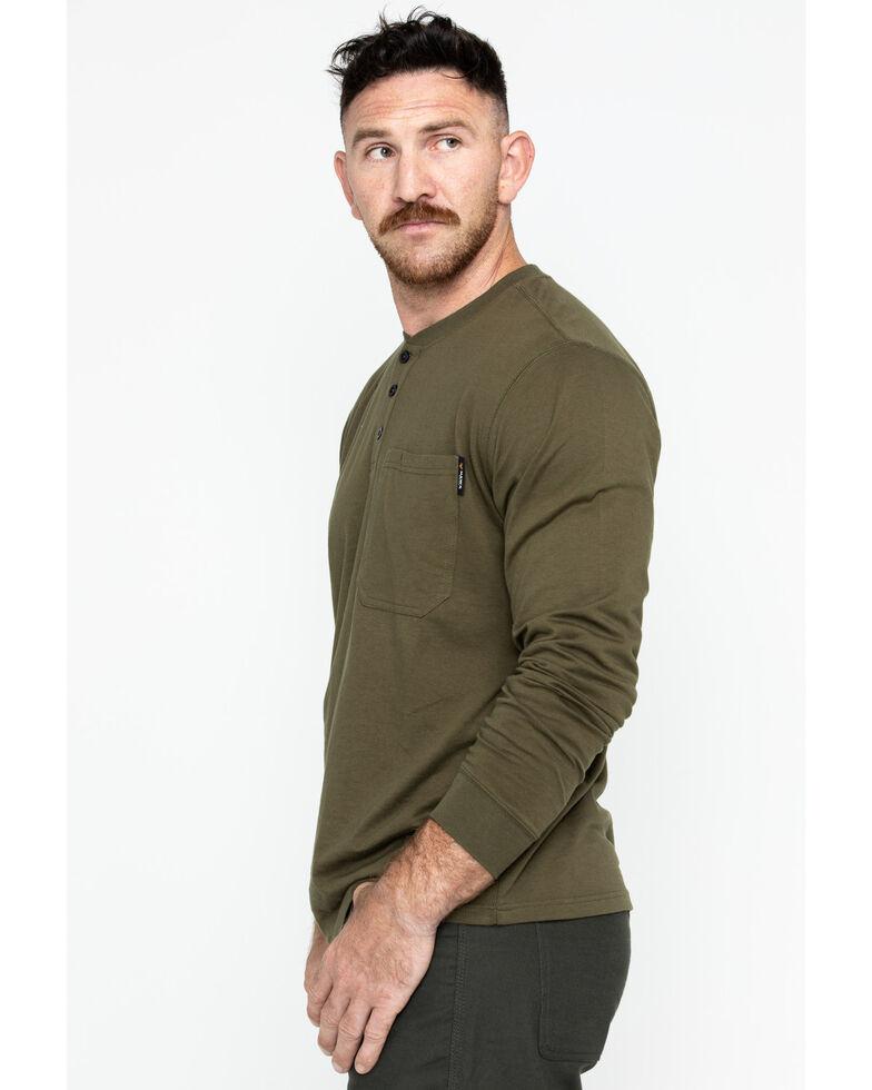 Hawx Men's Olive Pocket Henley Work Shirt - Big , Olive, hi-res