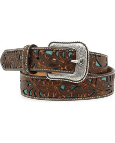Ariat Men's Floral Embossed Turquoise Underlay Belt, Brown, hi-res