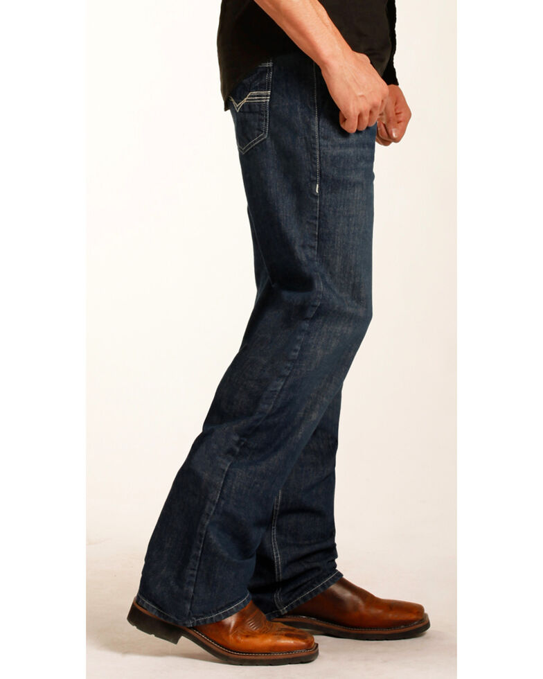 Rock & Roll Denim Men's Double Barrel Relaxed Fit Flame Resistant Bootcut Jeans, Blue, hi-res