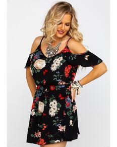 Red Label by Panhandle Women's Floral Print Cold Shoulder Dress , Black, hi-res