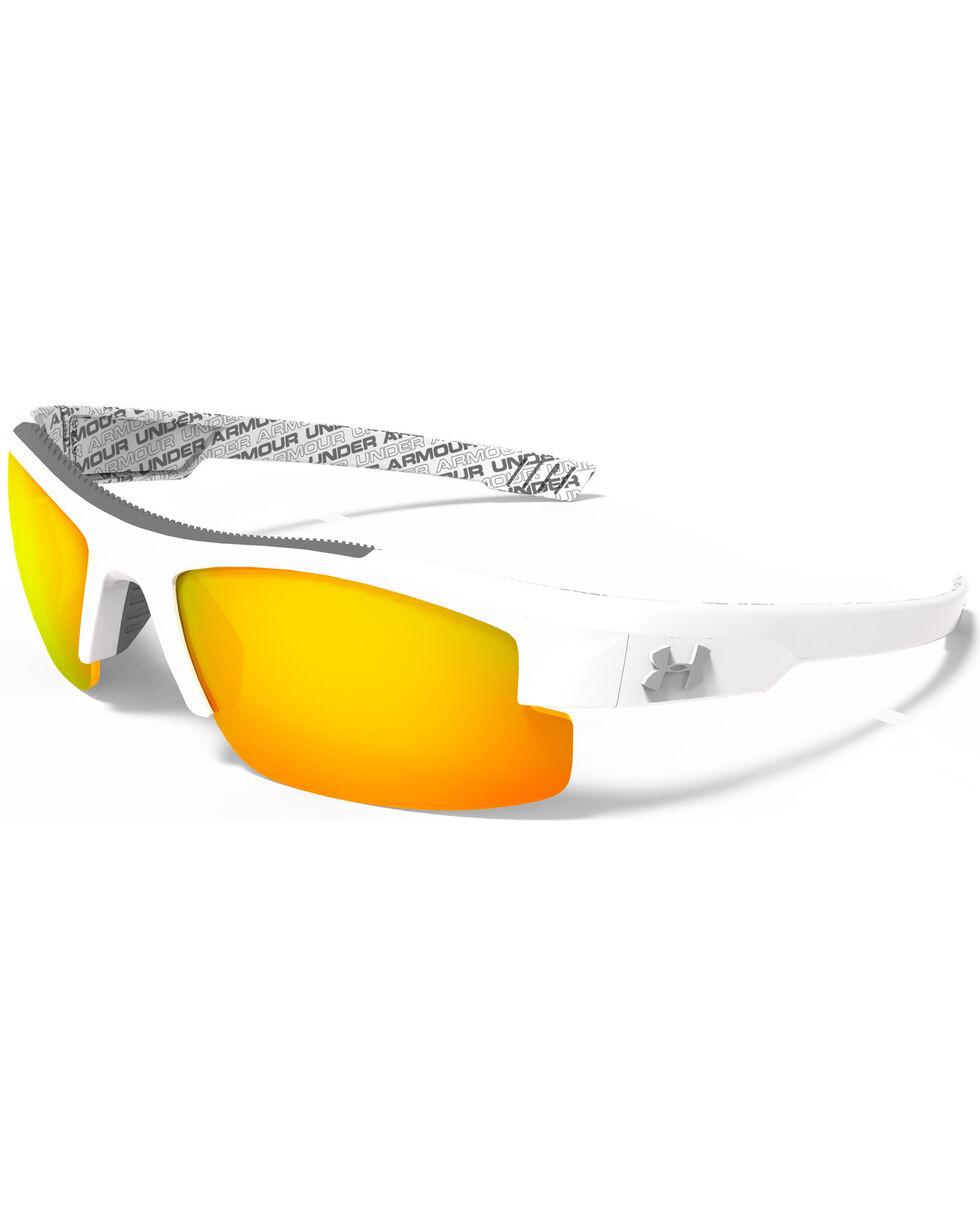 Under Armour Boys' Shiny White Orange Multiflection Nitro Sunglasses, White, hi-res