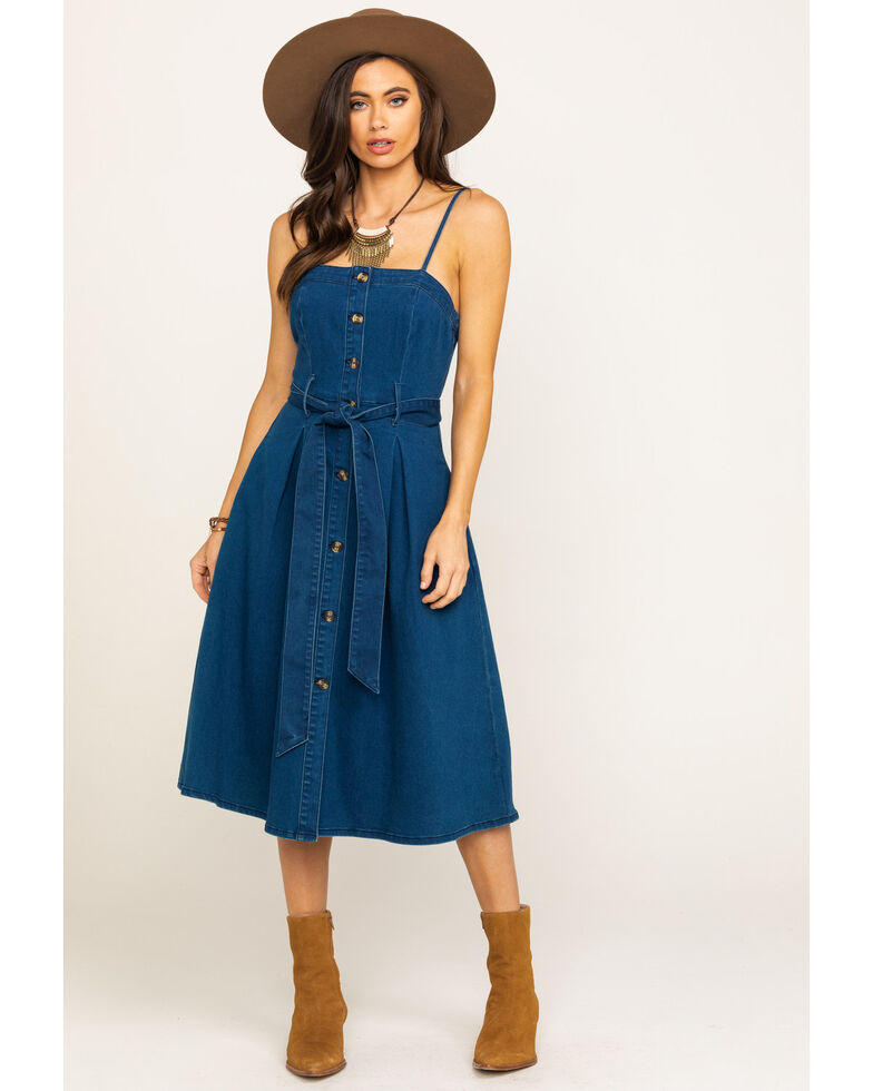 Flying Tomato Women's Denim Belted Sleeveless Dress, Blue, hi-res