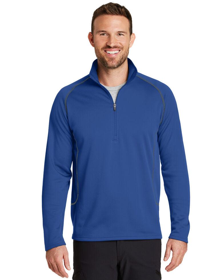 Eddie Bauer Men's Cobalt Blue Smooth Fleece Base Layer 1/2 Zip Pullover Sweatshirt, Blue, hi-res
