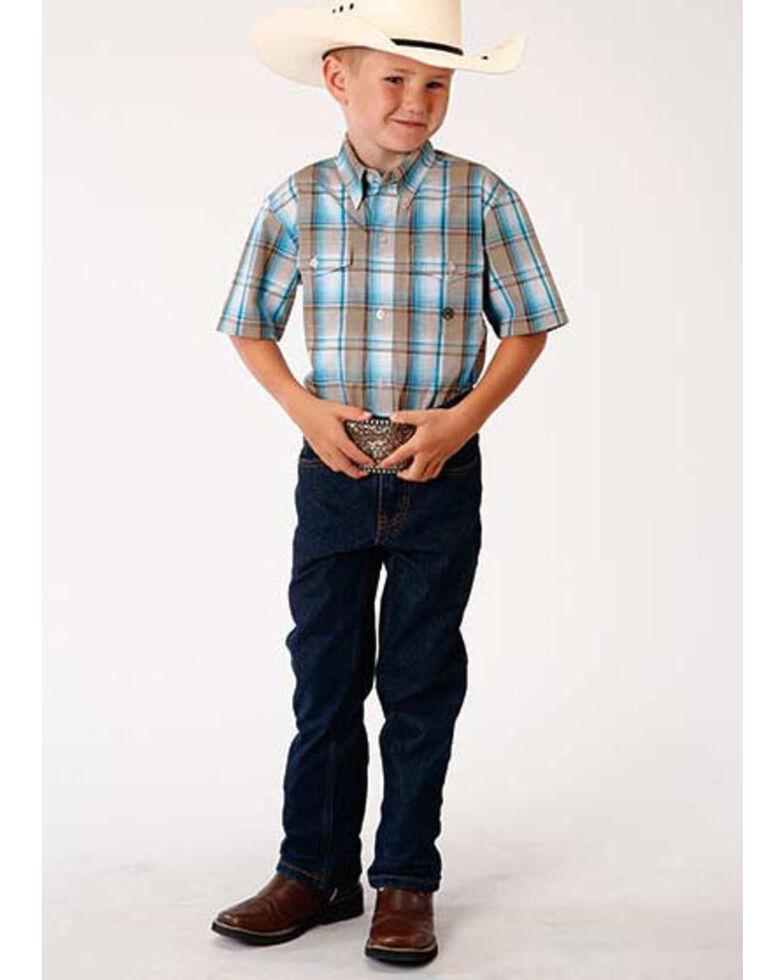 Roper Boys' Amarillo Desert Sky Seaside Plaid Short Sleeve Western Shirt , Blue, hi-res