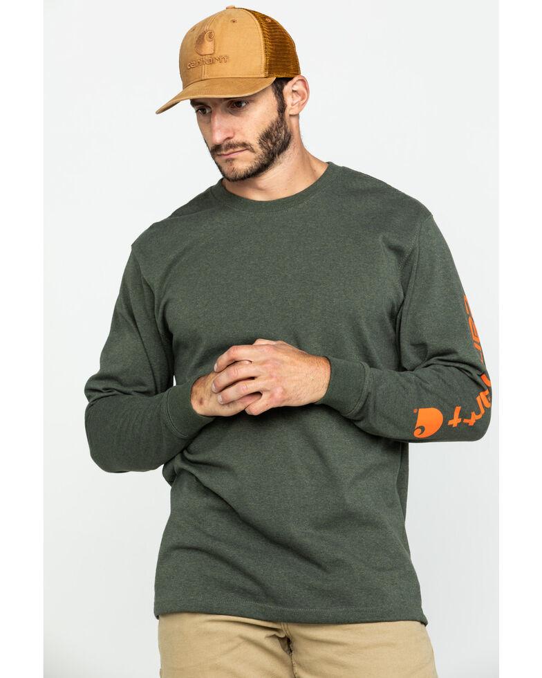 Carhartt Signature Logo Sleeve Knit T-Shirt, Olive, hi-res
